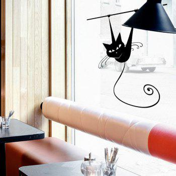 Climbing Wall Cat Wall Sticker for Kids Rooms Glass Window Home Decoration - BLACK