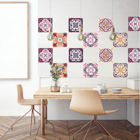6 pcs European Style 3D  Wall StickersDIY  Home Decoration Bathroom  Wallpaper - multicolor