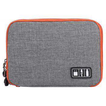 Portable Double Layers Electronics Accessories Gear Cable Organizer Travel Bag - SLATE GRAY