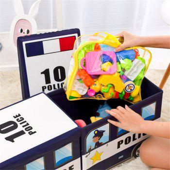 Collapsible Cartoon Vehicle Shape Toy Organizer Clothes Storage Box Bin for Kids - multicolor A