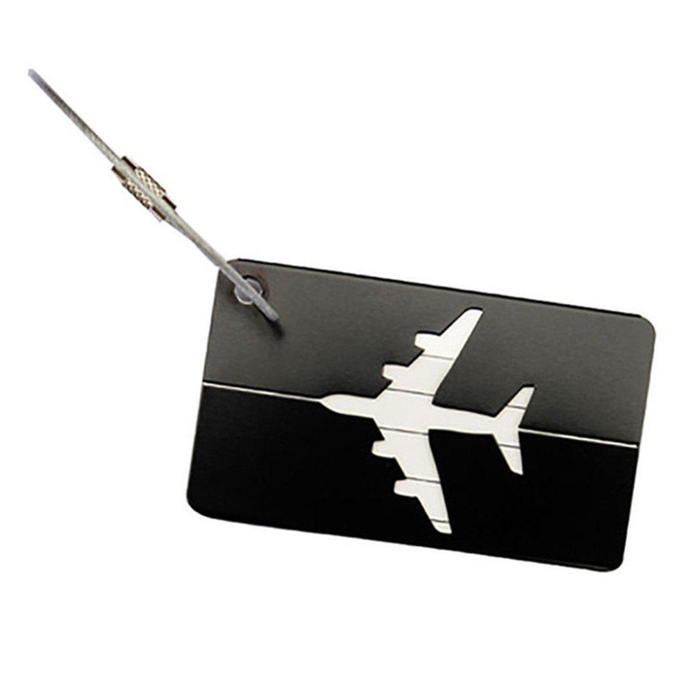 Aluminum Alloy Luggage Tag Travel ID Labels for Baggage Suitcases and Bags - BLACK