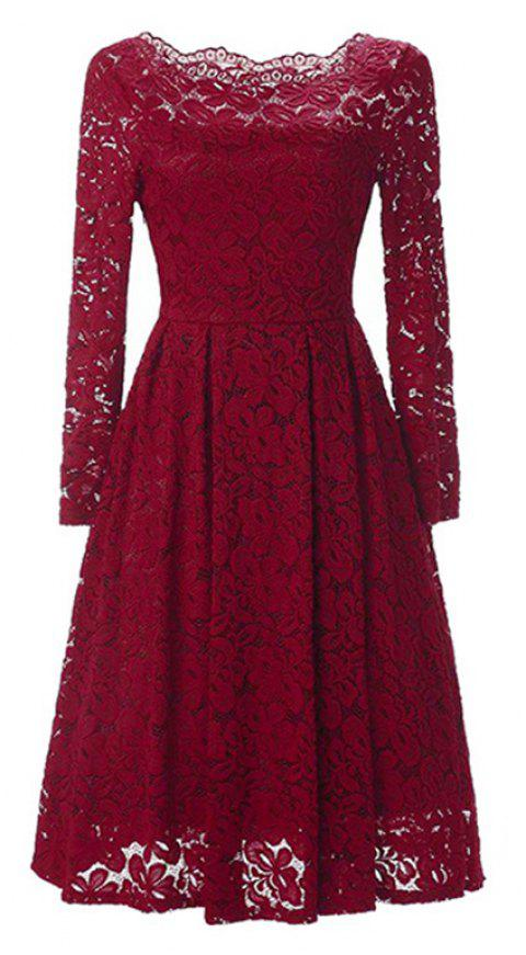 Sexy Long Sleeved Lace Dress - RUBY RED L