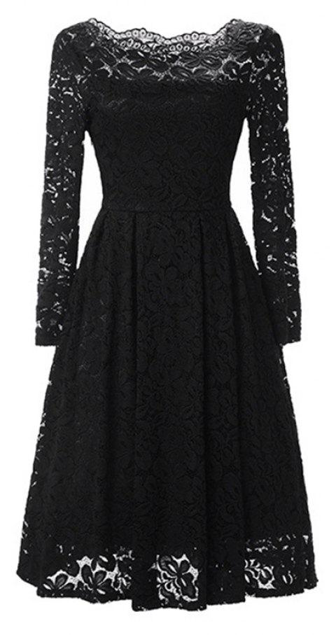 Sexy Long Sleeved Lace Dress - GRAPHITE BLACK S