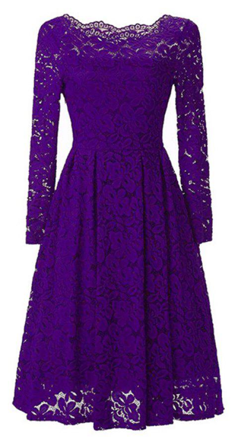 Sexy Long Sleeved Lace Dress - PURPLE AMETHYST S