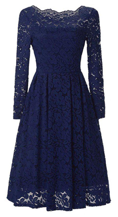 Sexy Long Sleeved Lace Dress - DEEP BLUE M