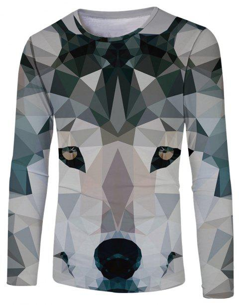 New Fashion Casual Sleeve 3D Printed Long T-Shirt - multicolor D 3XL