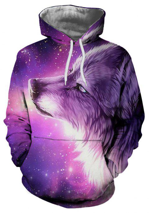 3D Winter Sports Fashion Wolf Print Mens Hoodie - multicolor B 4XL
