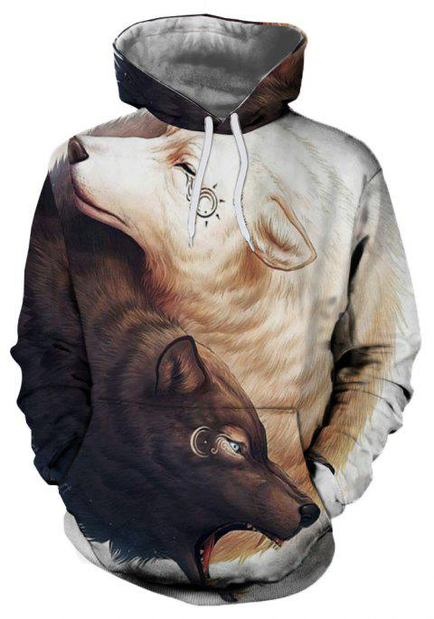 3D Winter Sports Fashion Wolf Print Mens Hoodie - multicolor A 2XL