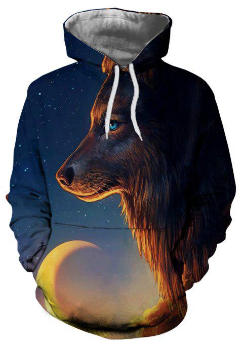 3D Winter Sports Fashion Wolf Print Mens Hoodie - multicolor E 2XL