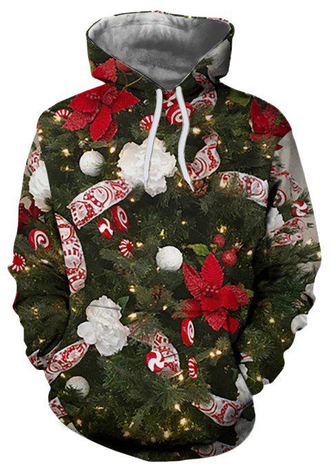 Men's Fashion 3D Christmas Tree Print Long-sleeved Patch Pocket Hoodie Sweater - multicolor M