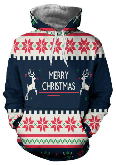 Fashion Trend Men's 3D Christmas Bell Print Long-sleeved Hoodie Sweater - multicolor B 2XL