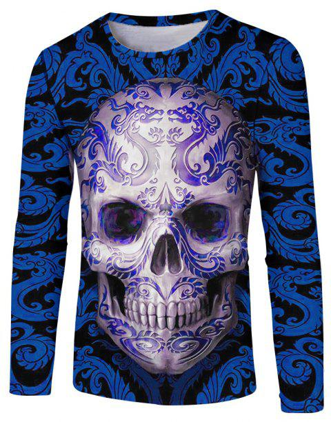 Men's Fashion New 3D Personality Skull Print Long-sleeved T-shirt - multicolor C M