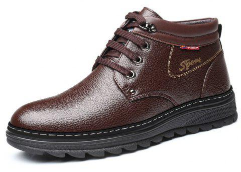 MUHUISEN Winter Leather Shoes Warm Working Casual Lace Up Flats Male Boots - BROWN EU 42