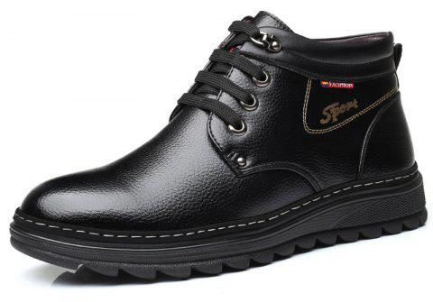 MUHUISEN Winter Leather Shoes Warm Working Casual Lace Up Flats Male Boots - BLACK EU 39