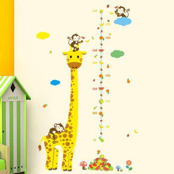 Measure Wall Stickers For Kids Rooms Giraffe Monkey Height Chart Ruler - YELLOW