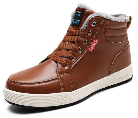 Men's Comfortable  Casual Warm Leather Snow Boots - BROWN EU 40