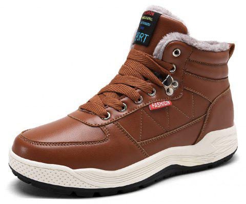 Men's  Casual Warm  Leather Snow Boots - BROWN EU 39