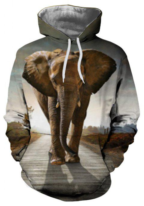 Casual Men's New 3D Printed Hooded Sweater - multicolor D L
