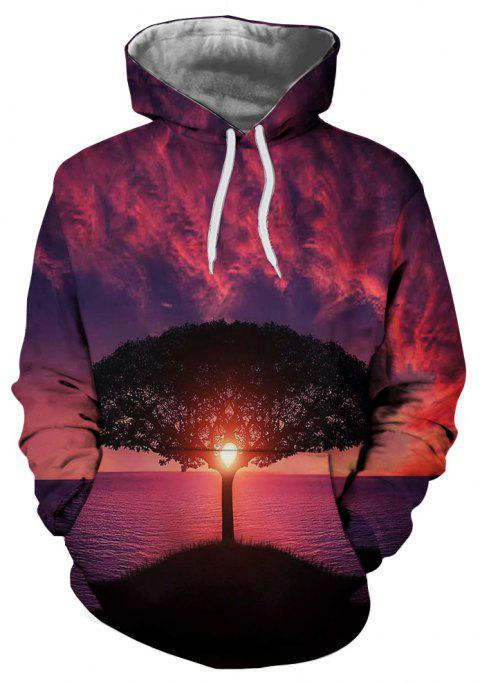 Casual Men's New 3D Printed Hooded Sweater - multicolor E M