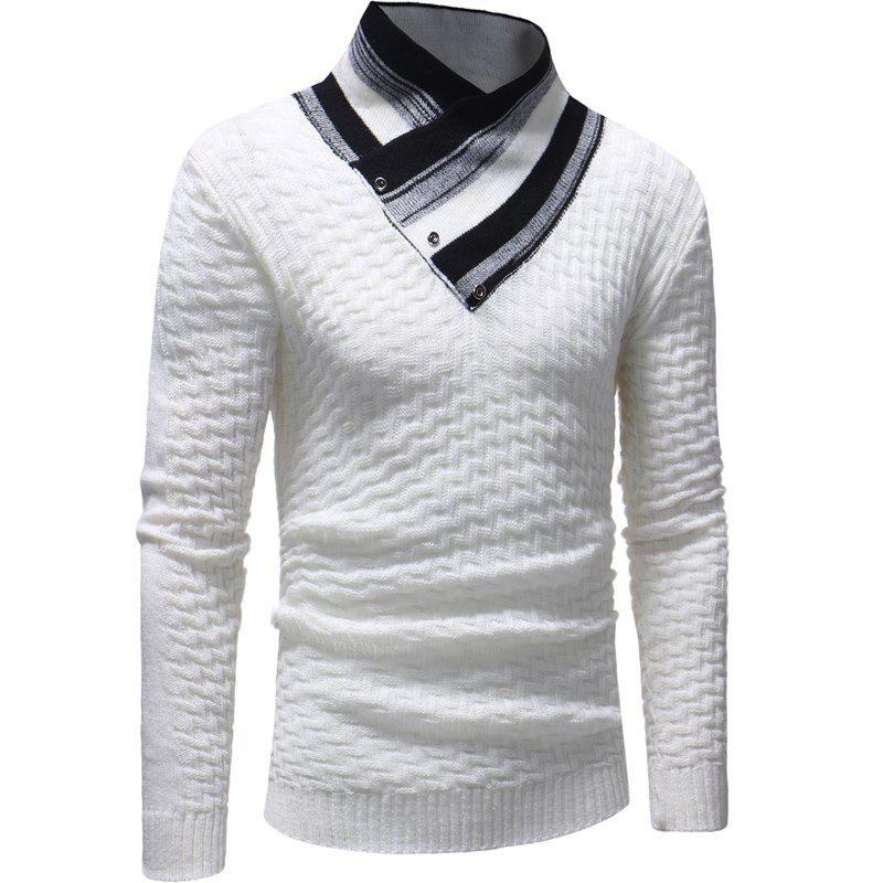 Men's Casual Cone T-Shirt Solid Color Long Sleeve Sweater - WHITE L