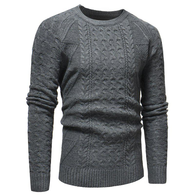 Men's Casual Fashion Crew Neck Long Sleeve Sweater - GRAY M