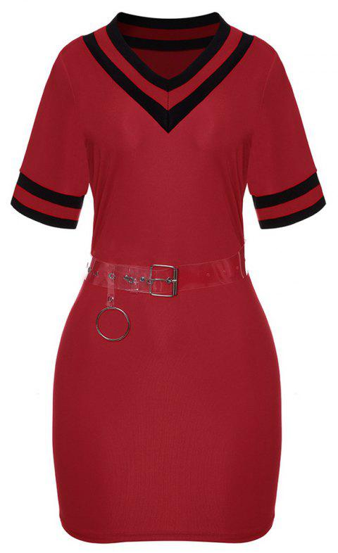 Women's V-neck Short Sleeve Color Block Sheath Mini Dress with Belt - RED L