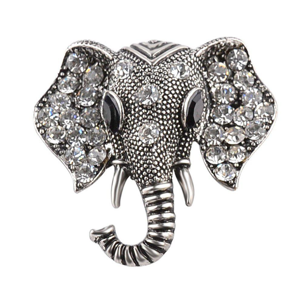 Anti Alloy Cartoon Zicron Elephant Nose Brooch - SILVER