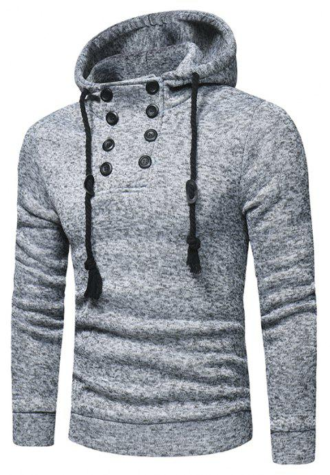 Men's Fashion Double-breasted Cap Rope Long Sleeve Slim Knit Hoodie - LIGHT GRAY 3XL