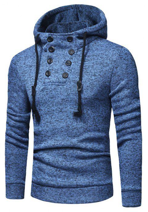 Men's Fashion Double-breasted Cap Rope Long Sleeve Slim Knit Hoodie - OCEAN BLUE 3XL