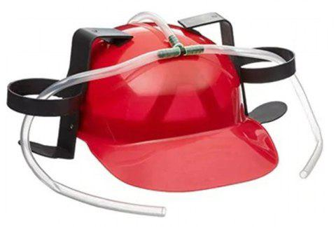 Beer Soda Helmet Hard Can Holder Drink Night Party Game - RED