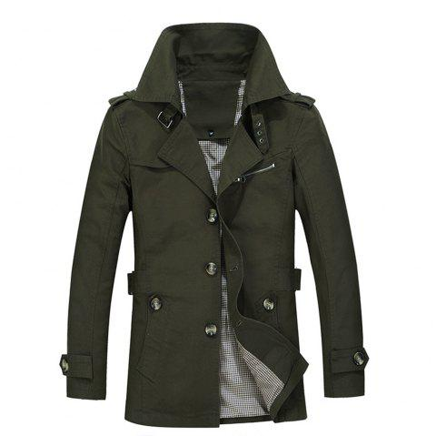 Autumn Men's Single Breasted Lapel New Pure Cotton Jacket Windbreaker - ARMY GREEN XL
