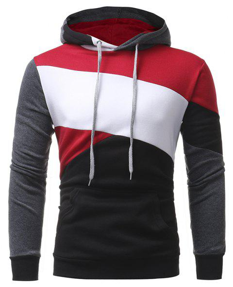 Men's Casual Slim Personality Multicolor Stitching Hooded Pullover Sweater - BLACK XL