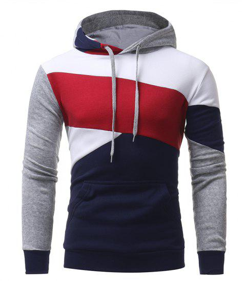 Men's Casual Slim Personality Multicolor Stitching Hooded Pullover Sweater - CADETBLUE 2XL