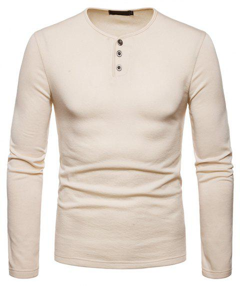Men's Large Size Warm Casual Long-Sleeved T-Shirt Bottoming Shirt - BEIGE S
