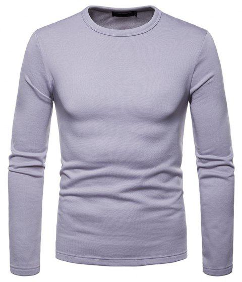 Men's Fashion Casual Large Size Warm Round Neck Slim Long-Sleeved T-Shirt - LIGHT GRAY 2XL