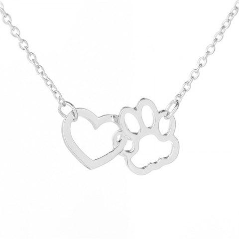 Dog Claw Heart Type Alloy Short Pendant Necklace - SILVER