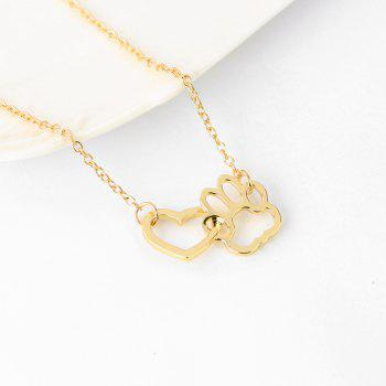 Dog Claw Heart Type Alloy Short Pendant Necklace - GOLD