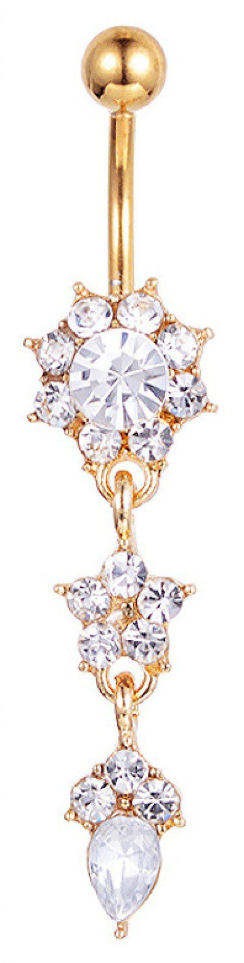 Zircon Fashion pendentif en acier médical Navel Nail Belly Ring - Or