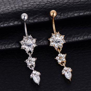 Fashion Zircon Pendant Medical Steel Flower Navel Nail Belly Ring - SILVER