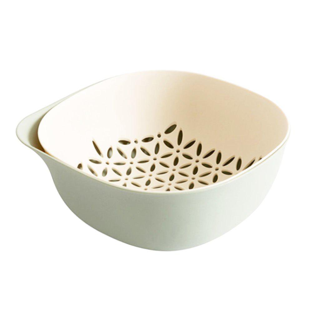 Double Fruit and Vegetable Drain Basket Kitchen Household - GREEN PEAS