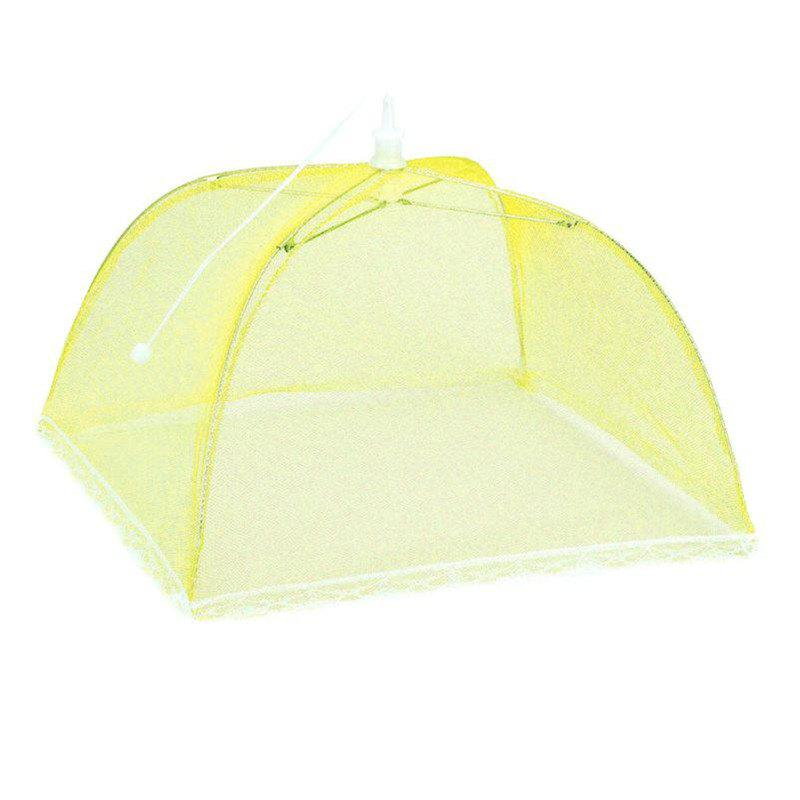 43cm Home Folding Dish Cover Fine Mesh Large Anti Fly Family Food Net Covers - YELLOW