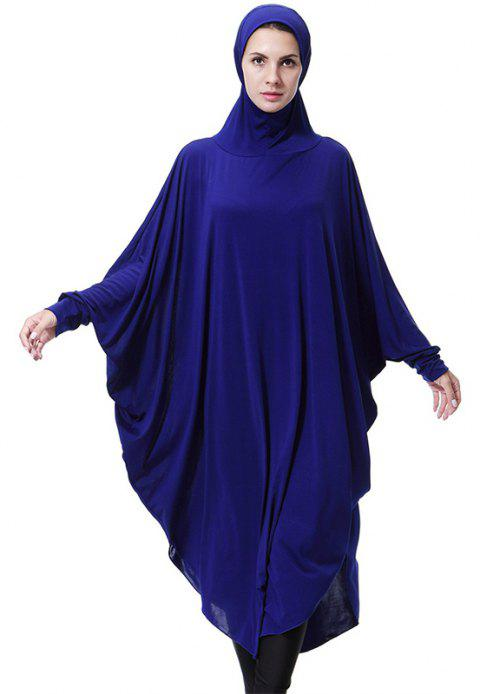 Solid Color Bat Sleeve Hooded Long Gown - COBALT BLUE M