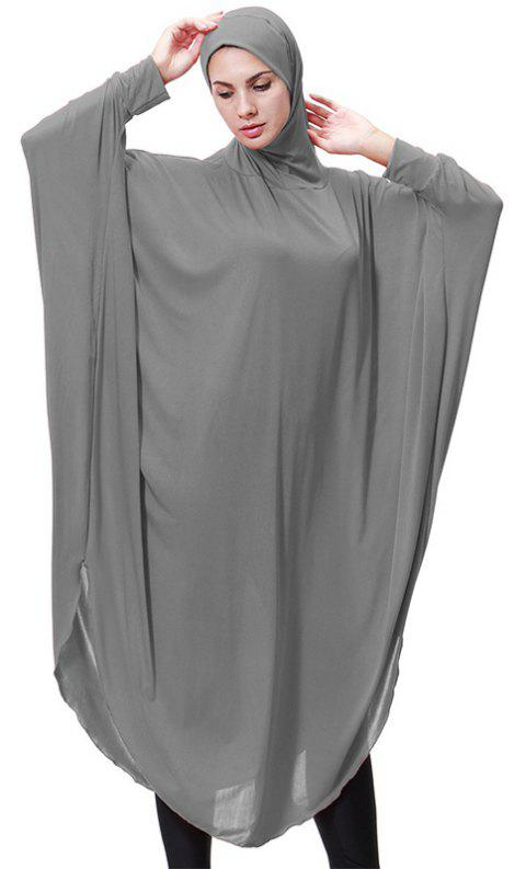 Solid Color Bat Sleeve Hooded Long Gown - DARK GRAY M