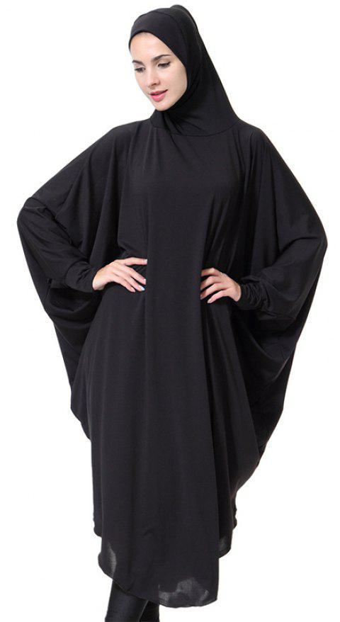 Solid Color Bat Sleeve Hooded Long Gown - BLACK XL
