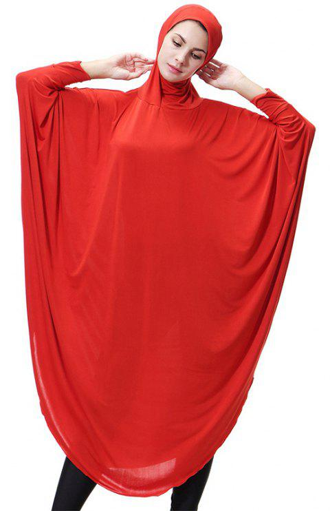 Solid Color Bat Sleeve Hooded Long Gown - BEAN RED XL