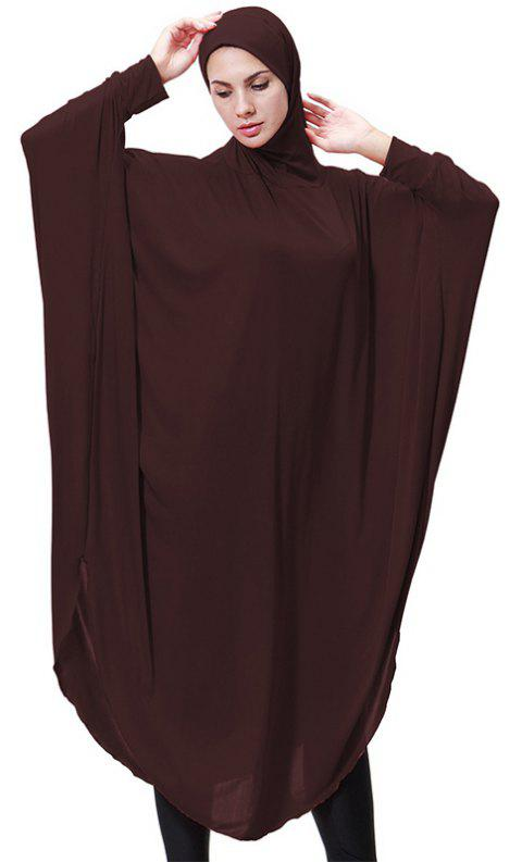 Solid Color Bat Sleeve Hooded Long Gown - COFFEE M