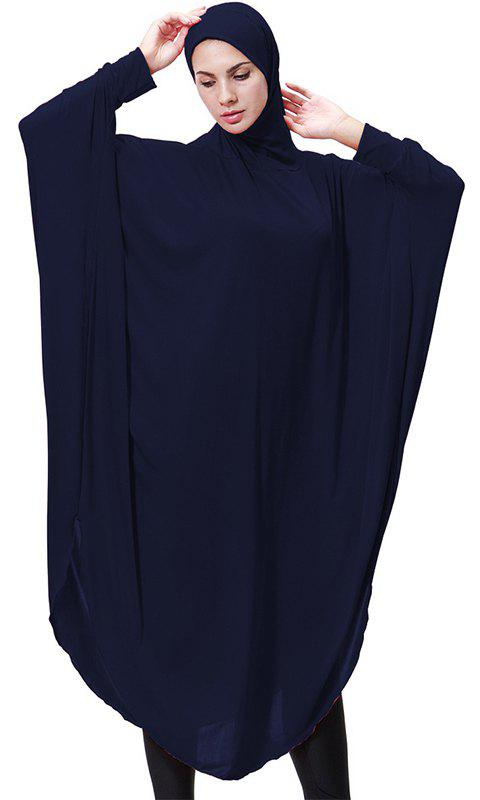Solid Color Bat Sleeve Hooded Long Gown - CADETBLUE M