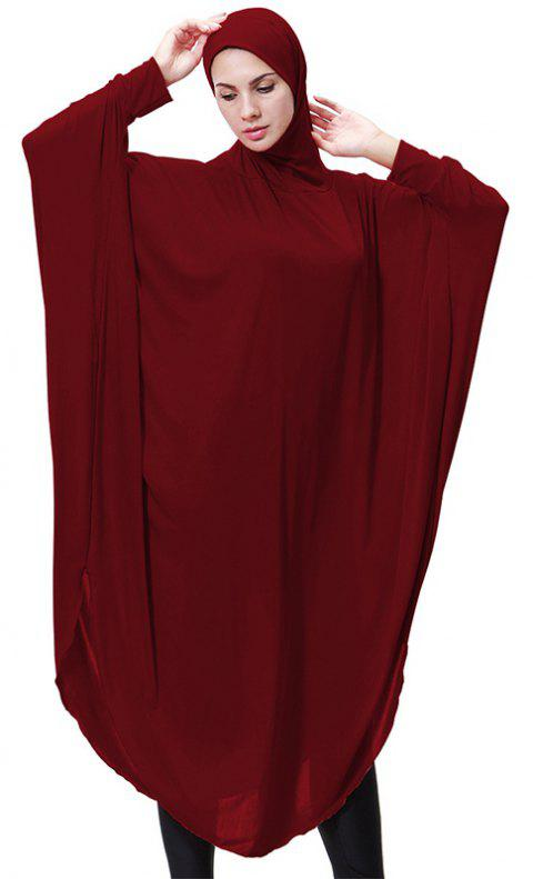 Solid Color Bat Sleeve Hooded Long Gown - RED WINE L