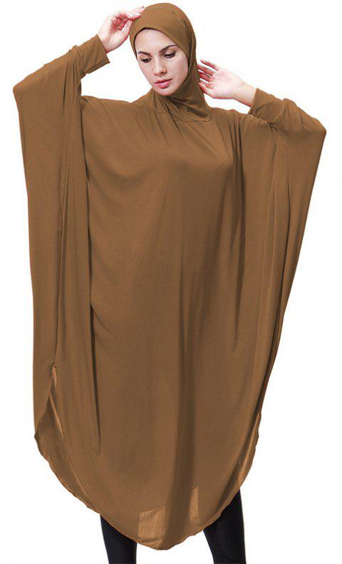 Solid Color Bat Sleeve Hooded Long Gown - DARK GOLDENROD L