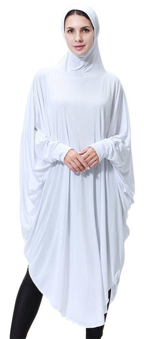 Solid Color Bat Sleeve Hooded Long Gown - WHITE M